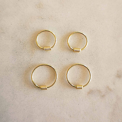 Pack of 4 Gold Plated Nose Hoops
