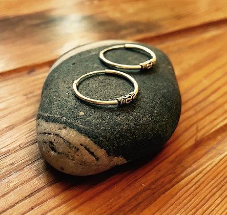 Sterling Silver Balinese Ear Hoops (18mm Diameter)