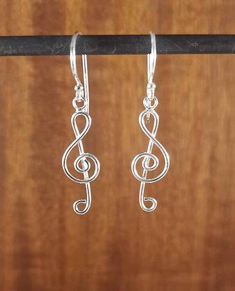 Music Note Silver Earrings