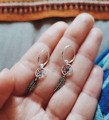 Dream Catcher Charm Ear Hoops