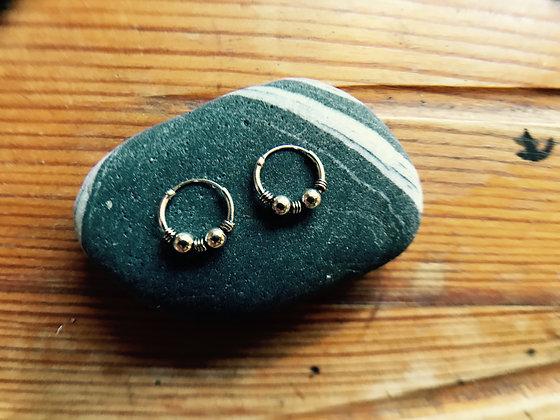 Two Ball Silver Ear Hoops