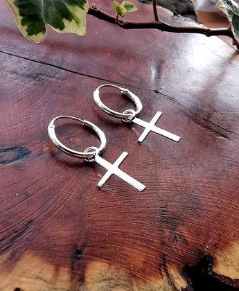 Silver Cross Charm Hoops
