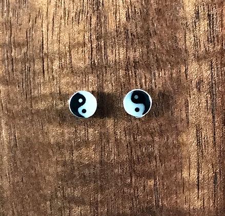 Yin Yang silver ear studs