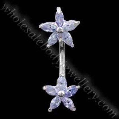 Double Flowers Silver & Steel Navel (N078)