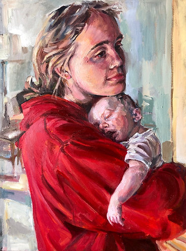 "Oil painting, ""Mother/Child/Daughter/Godson"""