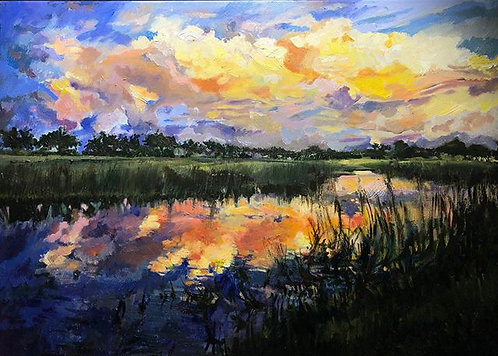 "Oil Painting ""Sunset, Ave Maria, Florida"""