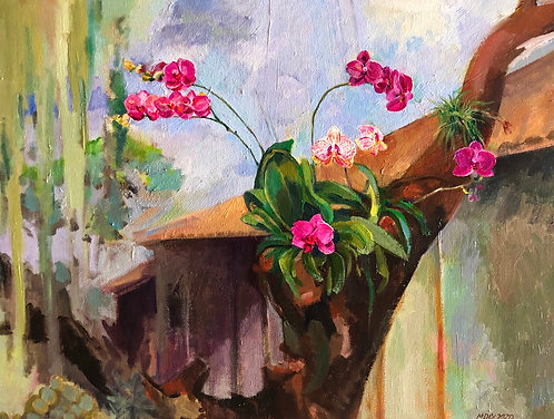 Acrylic painting, Orchids
