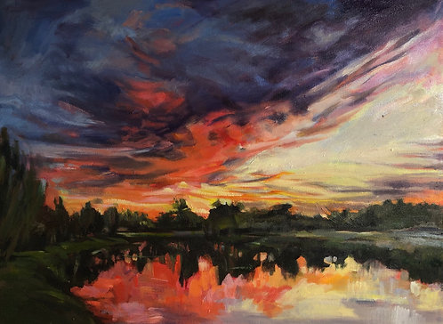 """Oil painting, """"Ave Maria Sunset"""""""