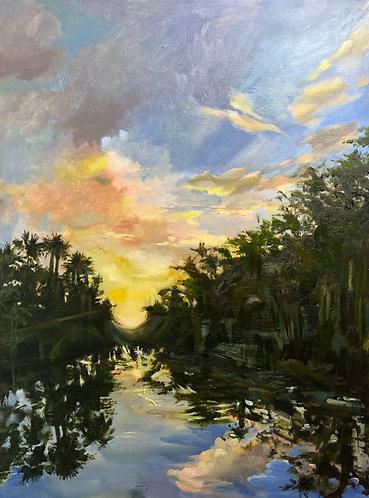 "Oil painting, ""Hickey's Creek, Winter Sunrise"""