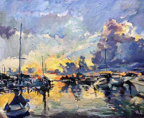 "Oil Painting, ""September Sunrise, Tampa Bay"" 11x14"""
