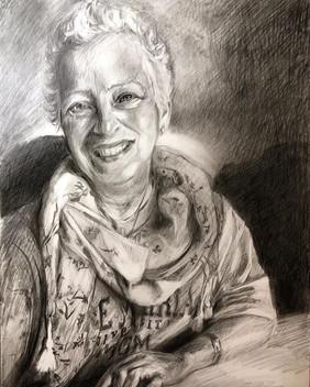 Charcoal portrait of Regina's mom, Janet.