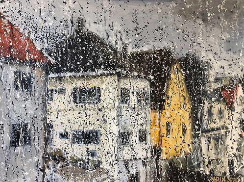 """Oil painting , """"View from a Rainy Window, Norway"""""""