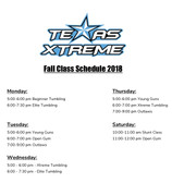 New Fall schedule and tumbling classes start this week. Come by and try a class with us!