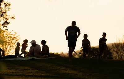 Families enjoying sunset