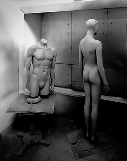 Still life photoghraphy: naked male and female mannequins in large format black and white.