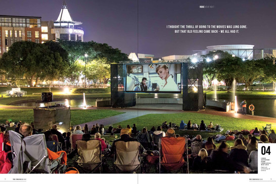 A romantic feature story and night photography on outdoor cinema