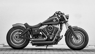 Motorcycle photography: beautiful photograph of custom built motorcyle in black and white.