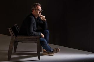 Portrait photography:powerful image of famous furniture designer Chris Weylandt.
