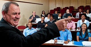 Advertising photography:cinematic scene of university professor giving lecture.
