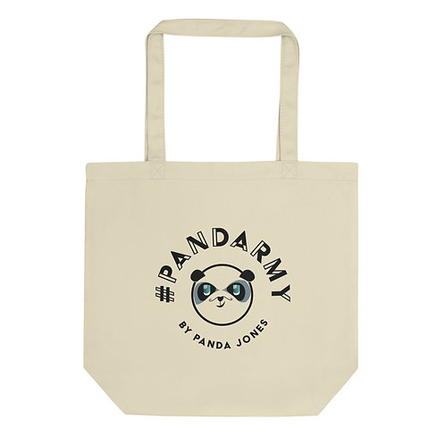 Tote Bag Bio #Pandarmy logo Panda Jones noir