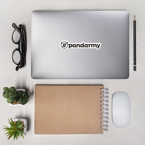 Autocollants #Pandarmy découpés sur mesure logo noir