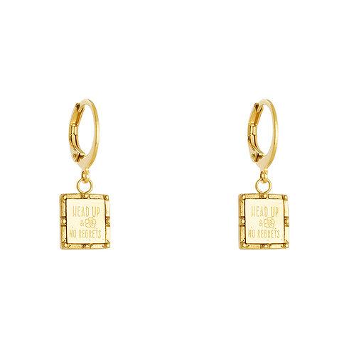 Head up earring - goud
