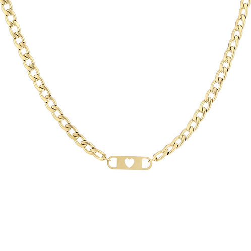 Heart chain necklace - goud