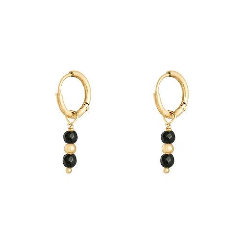 Black love earring - goud
