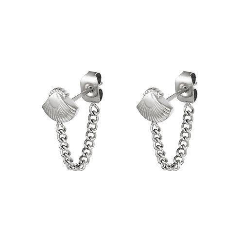 Shell chain earring - zilver