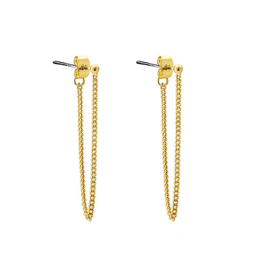 Dot chain earring - goud