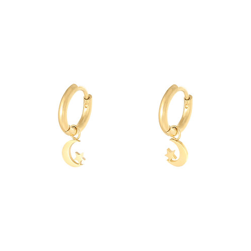 Moon and star earring - goud