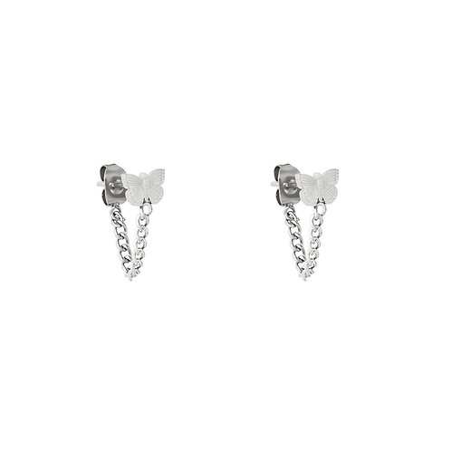 Fly away chain earring - zilver