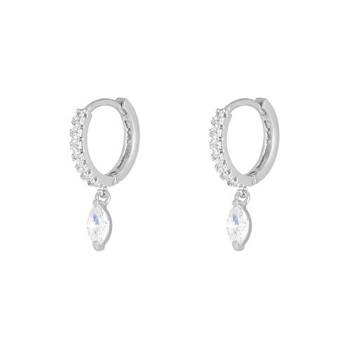 Diamond love earring - zilver