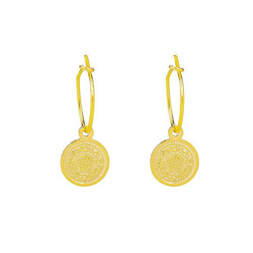 Lucky coin earring - gold