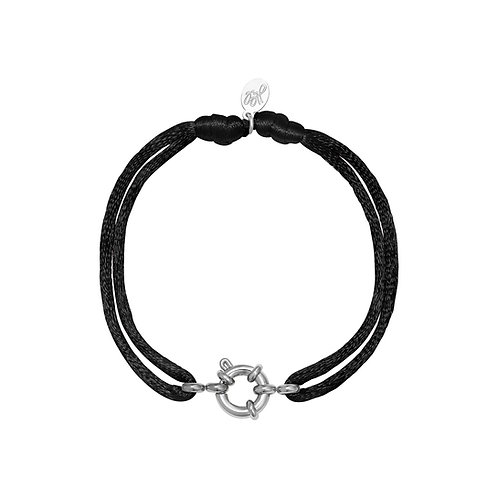 Satin wheel bracelet - zwart