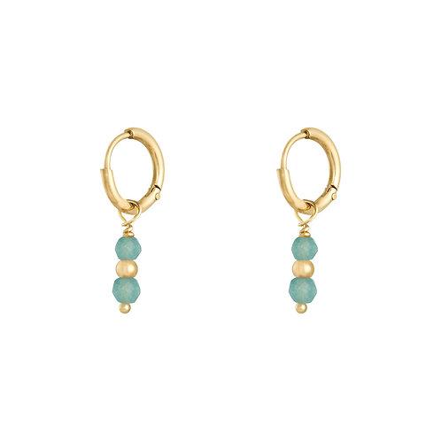 Turquoise love earring - goud
