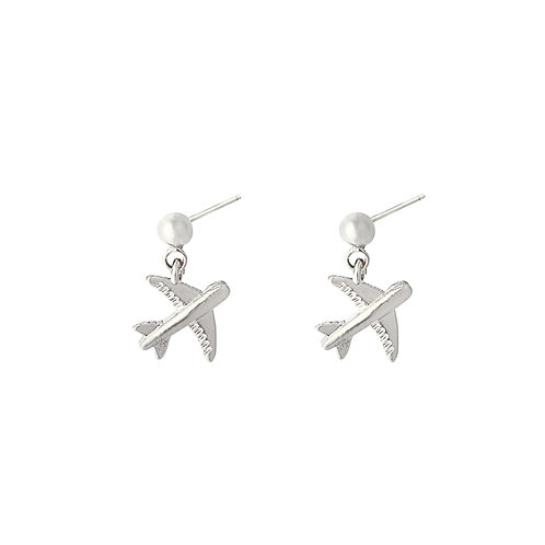 Earring airplane - Silver