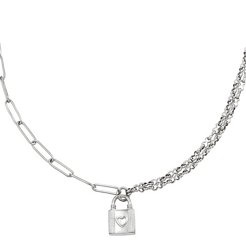 Lock with me necklace - zilver