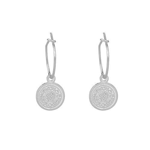 Lucky coin earring - silver
