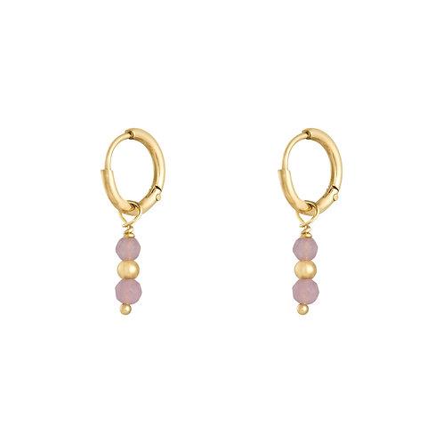 Pink love earring - goud