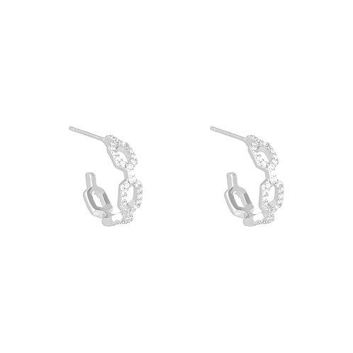 Linked diamond earring - zilver