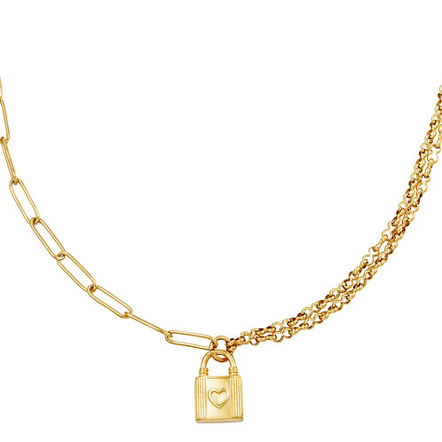 lock with me necklace - goud