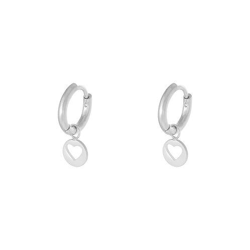 Floating heart earring - zilver