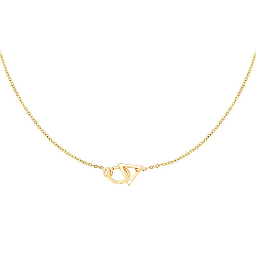 Circel and triangle necklace - goud