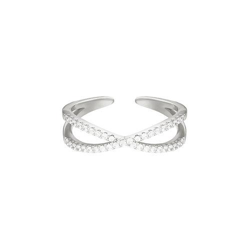 Cross ring - zilver