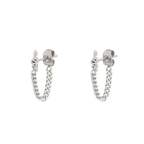 Snake chain earring - zilver