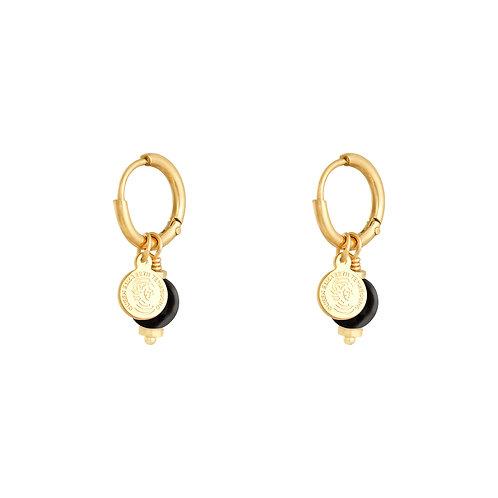 Black disco earring - goud