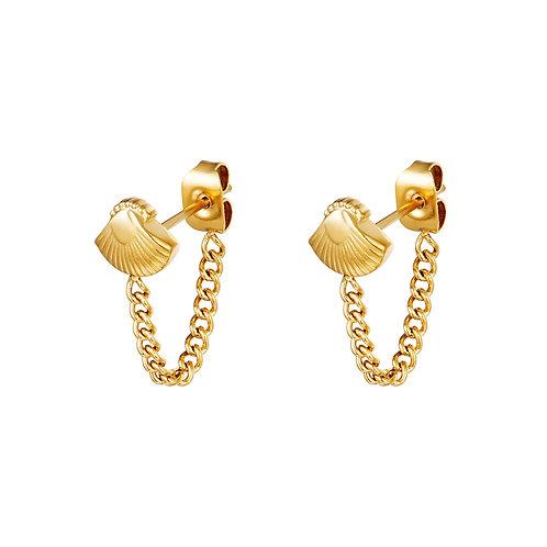 Shell chain earring - goud