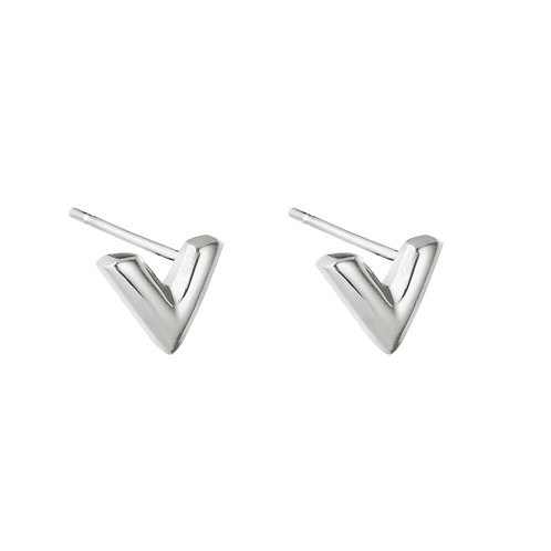 V earring stud - zilver