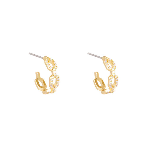 Linked diamond earring - goud
